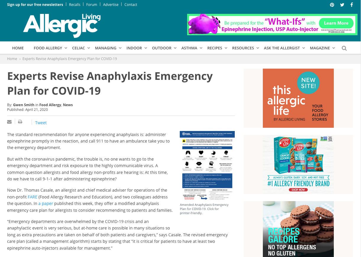 Revised Anaphylaxis Emergency Plan for COVID-19