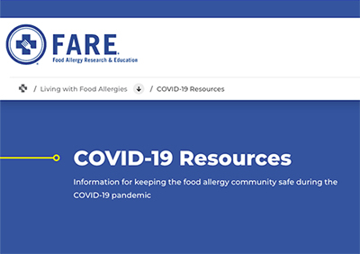 Food Allergy (FARE) Covid 19 Guidance