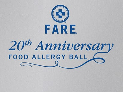 FARE 20th Anniversary Food Allergy Ball Sign