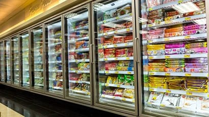 Line of Frozen Food Display Cases
