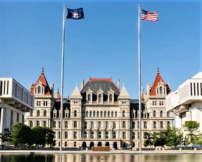 New York State Capitol with Flags and Reflecting Pool, Albany NY