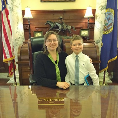 >Starla and Mitchell Higdon at the Idaho state capitol